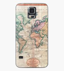Vintage World Map 1801 Case/Skin for Samsung Galaxy