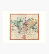 Vintage World Map 1801 Art Print