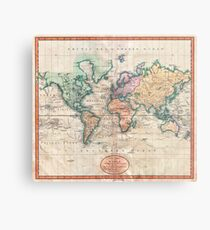 Weinlese-Weltkarte 1801 Metallbild