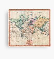 Vintage World Map 1801 Canvas Print