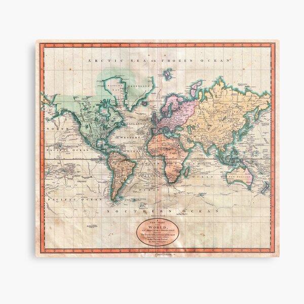 Vintage World Map 1801 Metal Print