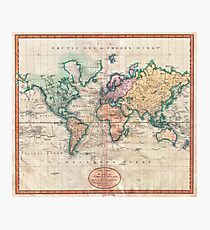 Vintage World Map 1801 Photographic Print