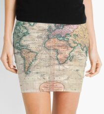 Vintage World Map 1801 Mini Skirt