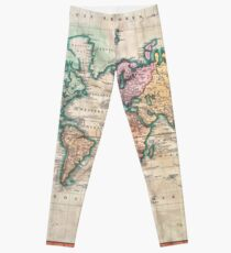 Vintage World Map 1801 Leggings