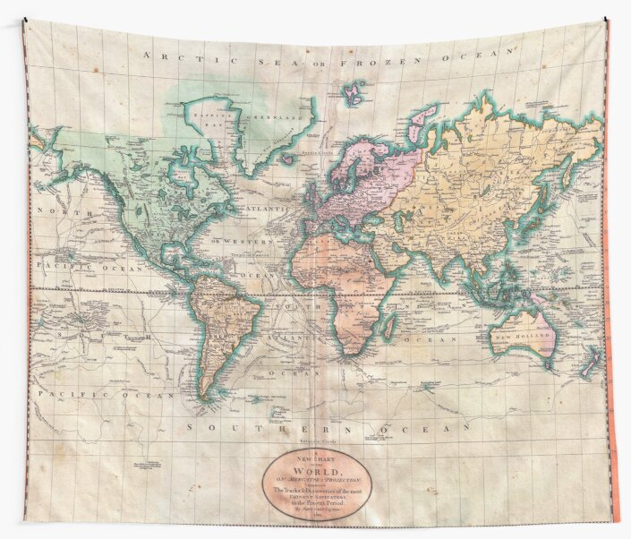 Antique World Map Tapestry.Vintage World Map 1801 Wall Tapestries By Naturemagick Redbubble