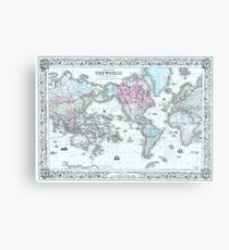 Vintage World Map 1855 Canvas Print