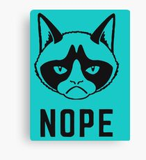 Grumpy Faced Cat Saying Nope Canvas Print