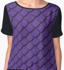 Elegant Violet Dragon Scale Women's Chiffon Top