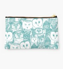 just owls teal blue Studio Pouch