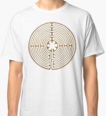 Symbol Chartres Labyrinth Metal Gold Antique Style Classic T-Shirt