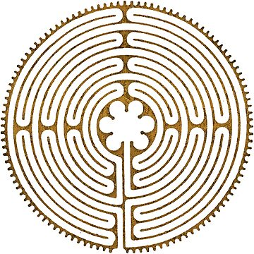 Symbol Chartres Labyrinth Metal Gold Antique Style by EDDArt