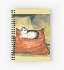 Kitten on Silk Cushion Spiral Notebook