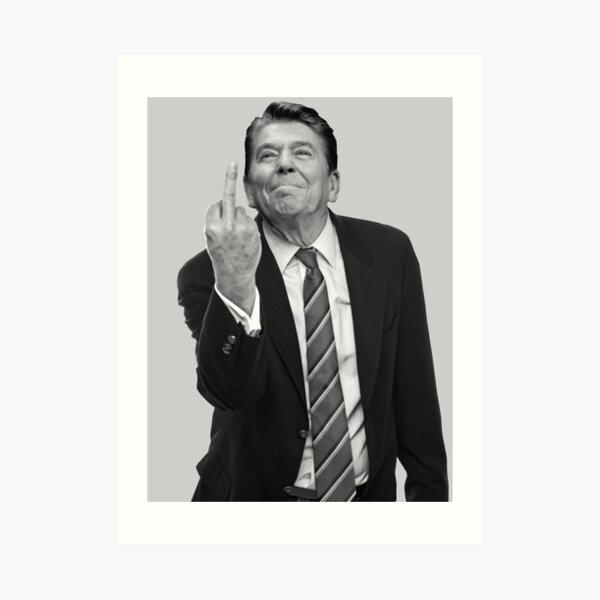Ronald Reagan Flipping The Bird  Art Print
