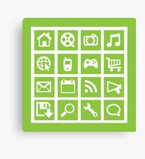 Web icon graphics (green) Canvas Print