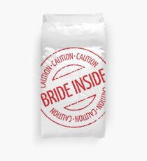 Bride Inside Caution Stamp (Hen Party / Red) Duvet Cover