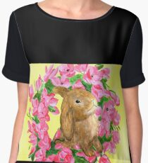 spring brown bunny with pink flowers Chiffon Top
