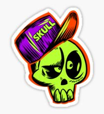 Skater Skateboarder Tee Shirts Skull Cap Skateboard T-Shirt Sticker