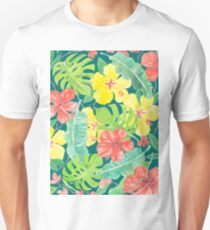 Tropical garden, hibiscus plumeria and palm leaves Unisex T-Shirt
