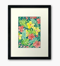 Tropical garden, hibiscus plumeria and palm leaves Framed Print