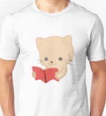 Cute Cat Reading Book Funny Emoji Bookworm Gift Unisex T-Shirt
