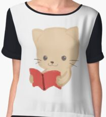 Cute Cat Reading Book Funny Emoji Bookworm Gift Chiffon Top