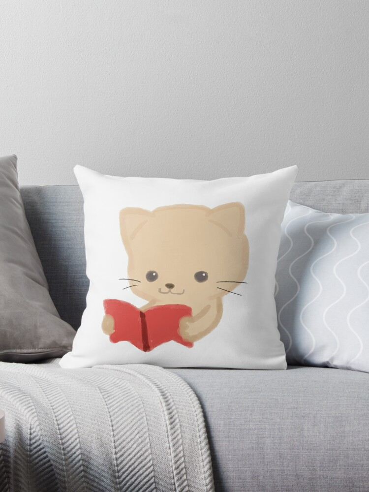 Cute Cat Reading Book Funny Emoji Bookworm Gift Throw Pillow By Japaneseinkart