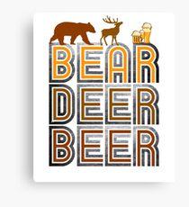 Retro Vintage Bear Deer Beer Canvas Print