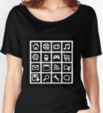 Web icon graphics (reverse white) Women's Relaxed Fit T-Shirt