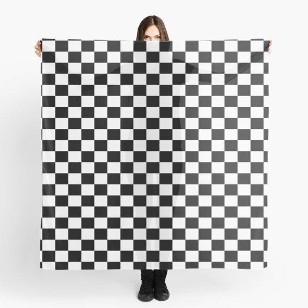 Black White Checker Design Bedspread - Mini Chess Sticker Scarf