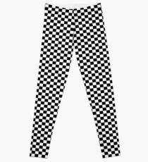 Black White Checker Design Bedspread - Mini Chess Sticker Leggings