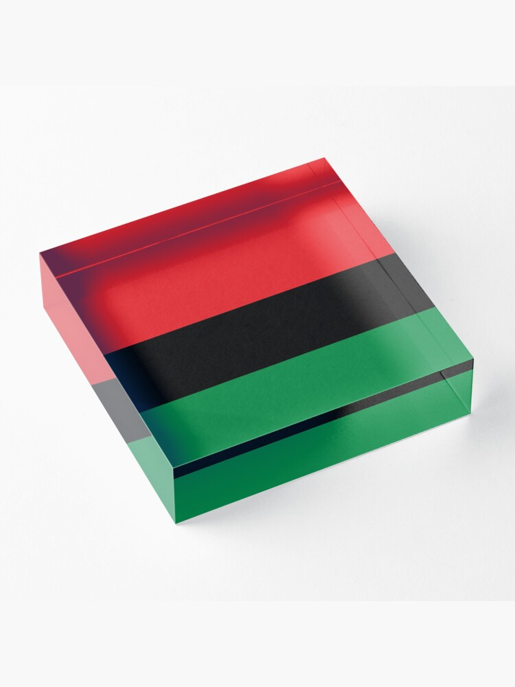 Alternate view of Pan African Flag T-Shirt - UNIA Flag Sticker - Afro American Flag Acrylic Block