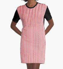 Red and White Striped Slimming Dress Graphic T-Shirt Dress