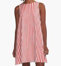 Red and White Striped Slimming Dress A-Line Dress