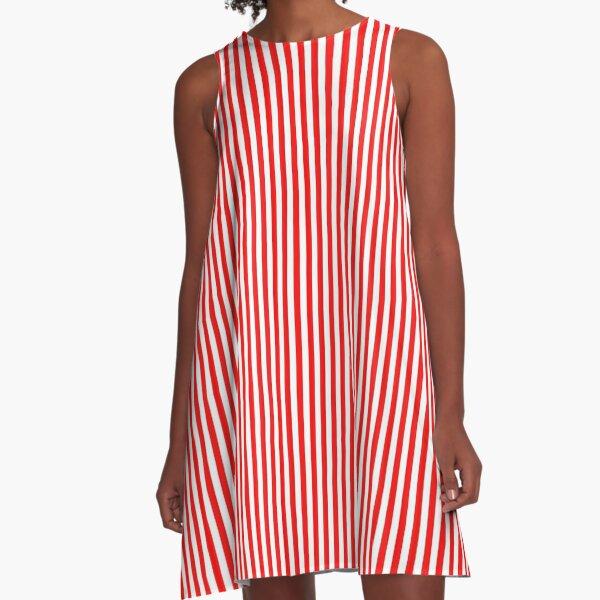 Vestido adelgazante de rayas rojas y blancas Vestido acampanado