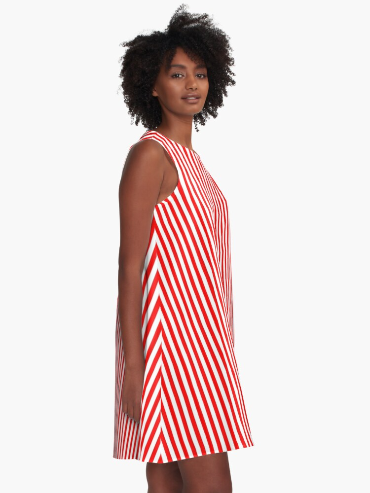 Alternate view of Red and White Striped Slimming Dress A-Line Dress
