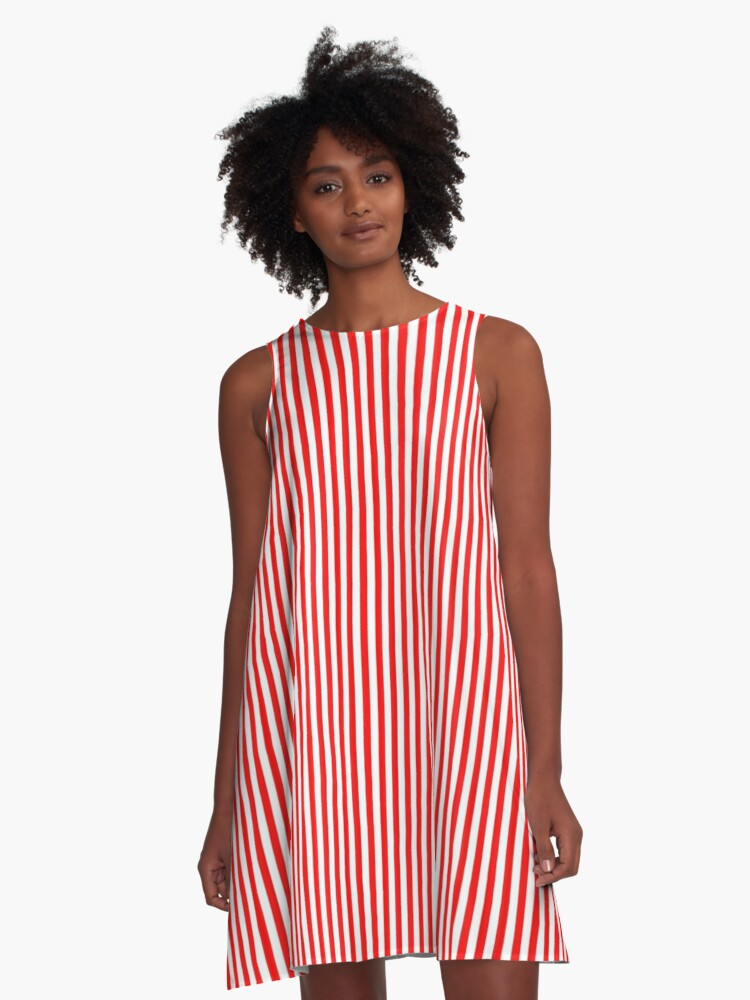 Red and White Striped Slimming Dress