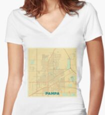 Pampa Map Retro Women's Fitted V-Neck T-Shirt