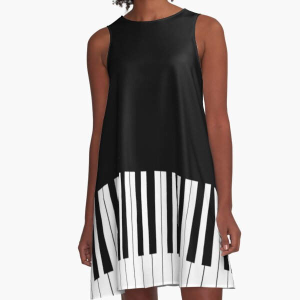 Cool Piano Keyboard Duvet Cover Musical T-Shirt A-Line Dress