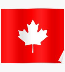 Canadian Canuck Maple Leaf Flag Bedspread Duvet Pillow Inverse Poster