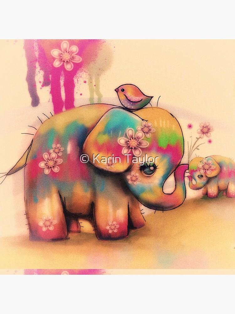 vintage tie dye elephants by karin