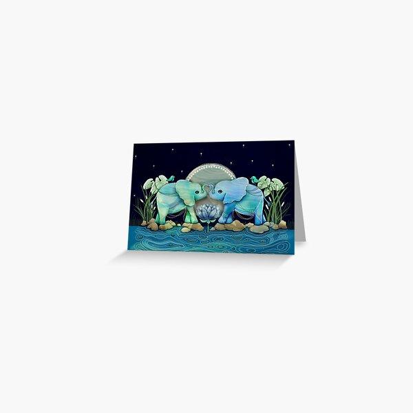 Lotus Flower Elephants Ocean Blue and Sea Green Greeting Card