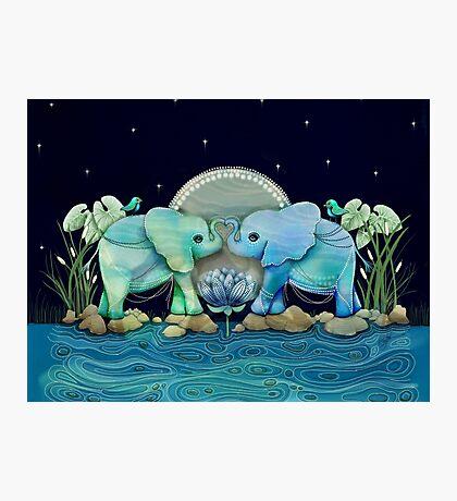Lotus Flower Elephants Ocean Blue and Sea Green Photographic Print