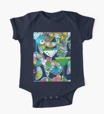 Hand drawn seamless background. Tropical party.  One Piece - Short Sleeve