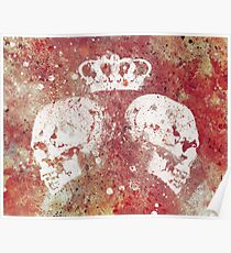 Blood Queendom (spray paint graffiti art, crown with skulls) Poster