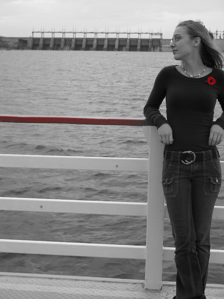 Young Woman on Ferry with Poppy by Caroline Ronalds