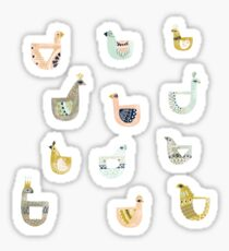 Folk Birds by Katy Bloss Sticker