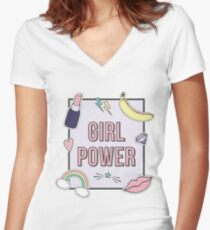 """""""Girl Power"""" with cute fashion patch badges Women's Fitted V-Neck T-Shirt"""