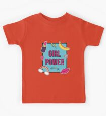 """Girl Power"" with cute fashion patch badges Kids Tee"