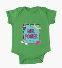 """""""Girl Power"""" with cute fashion patch badges One Piece - Short Sleeve"""