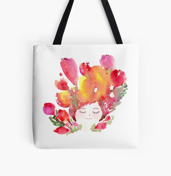 Dreaming about Flowers All Over Print Tote Bag